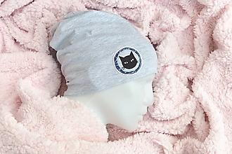 Detské čiapky - bavlnená čiapka  mačka - rôzne farby - 13743198_