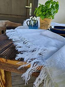 Úžitkový textil - Ľanový obrus Rough Look White - 13741122_