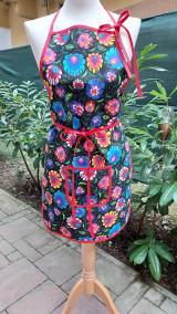 Iné oblečenie - Dámska zástera folk kvety na čiernej - 13747019_