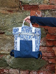 Batohy - Rolltop batoh M folklór modrý - 13746933_