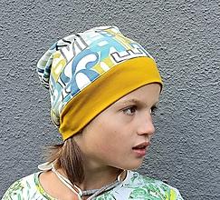 Čiapky - Čiapka Nathan - jednovrstvová s lemom v horčicovej farbe - 13743882_