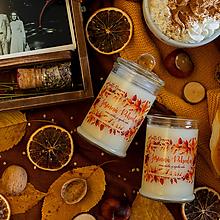 Svietidlá a sviečky - Sviečka zo sójového vosku v skle - Jesenná Pohoda - 13746269_