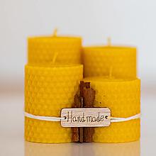 Svietidlá a sviečky - Sviečka zo 100% včelieho vosku - Točené hrubé - Žlté - 13746534_