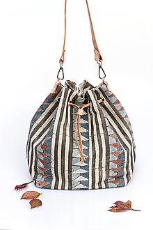"""Kabelky - Veľká dámska kabelka z exkluzívnej modrošedej ľanovej látky """"Africa"""" - 13744062_"""