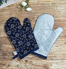 Úžitkový textil - Modrotlačové CHŇAPky 2 ks s magnetom a tepolovzdornou látkou 1 - 13746207_