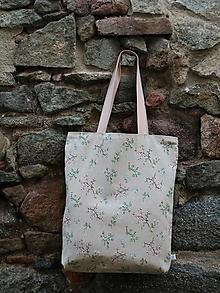 Nákupné tašky - Taška kvietočky ľanová - 13749570_
