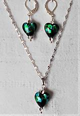 Sady šperkov - Čarovný lampwork (Smaragdovo čierne srdcia) - 13750295_