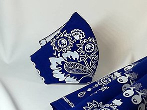 Rúška - Antibakteriálne rúško folk, modré - 13750420_