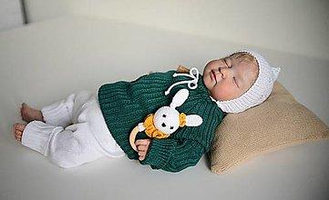 """Detské oblečenie - Pulóvrik so šnúrkou, """"Bruno"""", veľ. 56-104, OEKO-TEX®, smaragdový - 13747609_"""