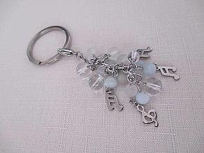 Kľúčenky - Kľúčenka s minerálmi - NOTY - chirurgická oceľ - 13748413_