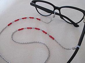 Iné šperky - Retiazka na okuliare - červená - chirurgická oceľ - 13748541_