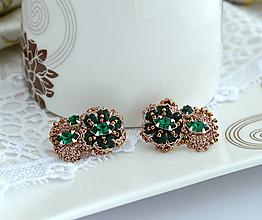 Náušnice - Emerald flower - 13748055_