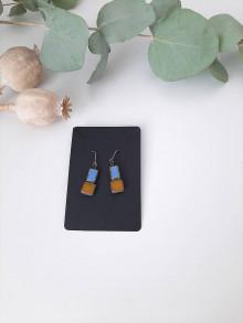 Náušnice - Modro hnedé náušnice - 13749416_