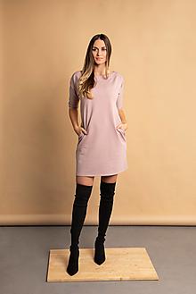 Šaty - Teplákové mini šaty staroružové - 13748123_