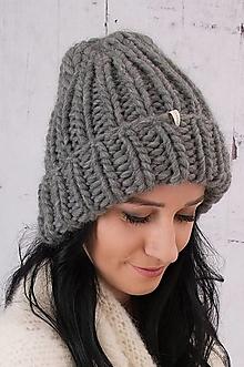 Čiapky - šedá chunky čiapka,100 % peruánska ovčia vlna - 13751450_