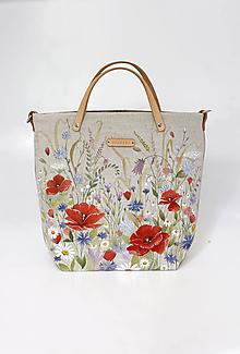 """Kabelky - Veľká priestranná ručne maľovaná kabelka z ľanu """"Na lúke"""" - 13751776_"""