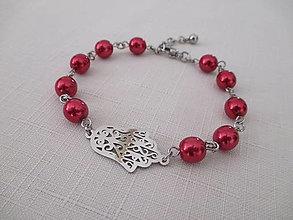 Náramky - Náramok - RUKA - červené perly - chirurgická oceľ - 13752257_