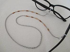 Iné šperky - Retiazka na okuliare - SRDCIA - zlato/medená - chir. oceľ - 13752323_