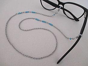 Iné šperky - Swarovski - retiazka na okuliare - modrá - chir. oceľ - 13752391_