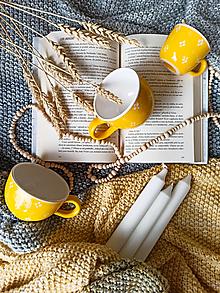 Nádoby - Hrnek žlutý 4puntík - espresso, lungo, cappuccino (Lungo) - 13753399_