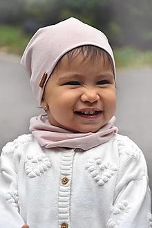 Detské súpravy - Ľanovo-bavlnený set -pudrová - 13753459_