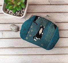 Peňaženky - Peňaženka XL Petrolejová s mačkou - 13751305_