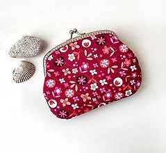 Peňaženky - Peňaženka XL Kvietkovaná tmavoružová - 13751312_