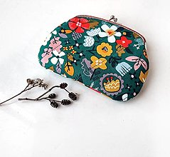 Peňaženky - Peňaženka XL Kvietkovaná tmavozelená - 13751316_