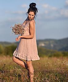 Šaty - Šaty lněné s volánky Pudrové - 13753355_