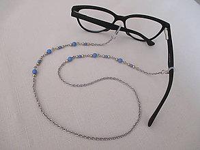 Iné šperky - Retiazka na okuliare - zlato/modrá - chirurgická oceľ - 13754277_