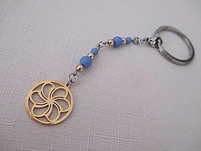 Kľúčenky - Kľúčenka - zlato/modrá - MANDALA - chir. oceľ - 13754321_