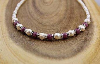 Náhrdelníky - perlya rubín náhrdelník luxusný - 13756596_