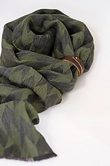 """Doplnky - Pánsky zelenočierny šál z exkluzívneho ľanu """"Diamond"""" - 13758617_"""