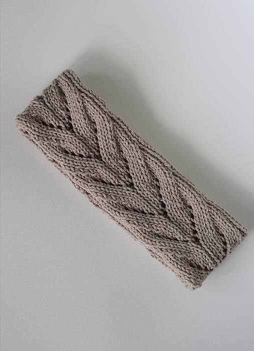 Čiapky - Béžová dvojvrstvová čelenka so vzorom - 13758083_