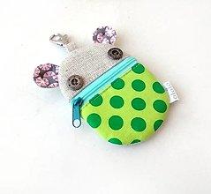 Kľúčenky - Kapsička na slúchadlá Zvieratko zelené - 13756282_