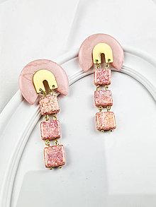 Náušnice - Náušnice z polymérovej hmoty Pink Glass - 13758550_