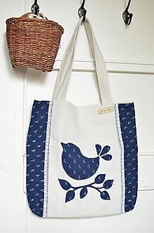 Veľké tašky - Modrotlačová taška s vtáčikom - 13758905_