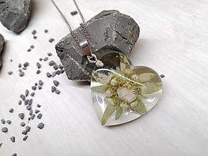 Náhrdelníky - Kvetoláska maxi srdce leontopodium - 13762093_