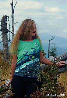 Tričká - Dámske tričko batikované, maľované DIVOKVIETKY - 13759750_