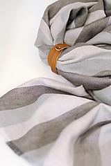 Doplnky - Ľanová šatka s pásikavým vzorom béžovo šedej farby - 13762541_