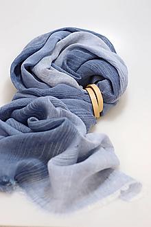 """Doplnky - Pánska štýlová vzorovaná šatka z modrého ľanu """"Cristian"""" - 13761864_"""