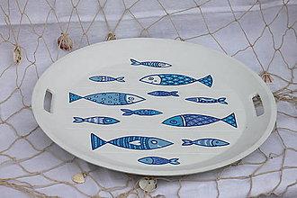 Nádoby - Biely drevený námornícky podnos s rybičkami - 13760491_