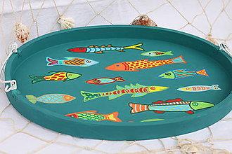 Nádoby - Pestrofarebná tácka / podnos /s rybičkami - 13760581_