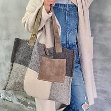 Veľké tašky - WOOL bag s koženými remienkami - 13759170_