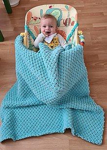Textil - Detská deka z Alize puffy fine - krížový vzor - 13759067_