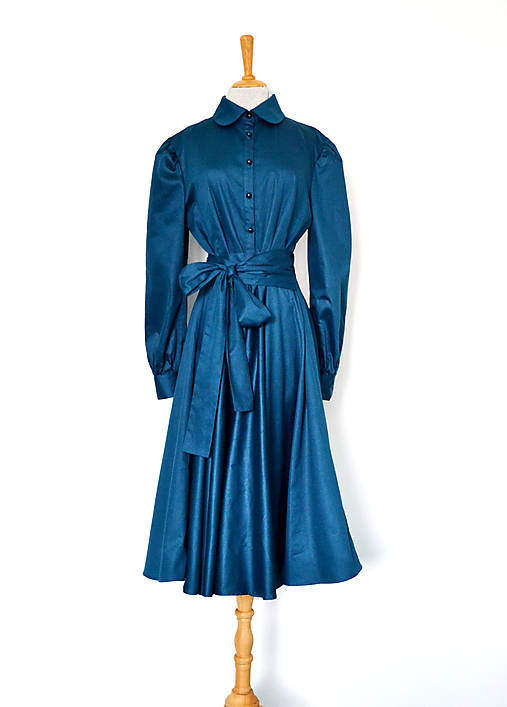 Košeľové šaty s viazaním v páse z bavlneného saténu – petrolejové