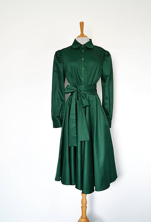 Košeľové šaty s viazaním v páse z bavlneného saténu – zelené