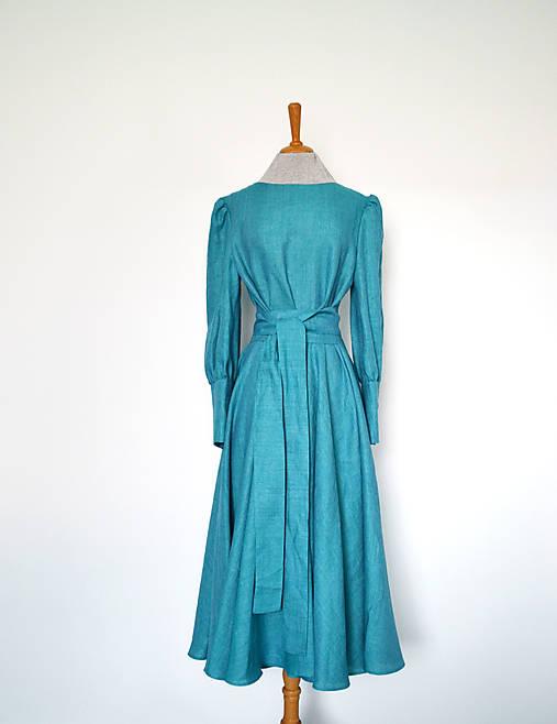 Ľanovo-viskózové šaty s viazaním v páse a maxi manžetami – tyrkysové