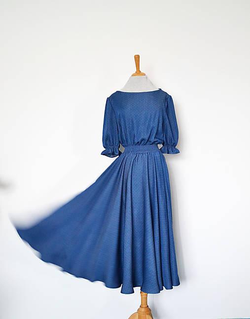 Tencelovo-viskózové šaty s dezénom drobných bodiek s elastickým pásom