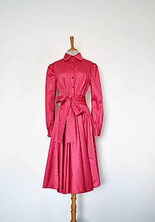 Šaty - Košeľové šaty s viazaním v páse z bavlneného saténu – koralové - 13762058_